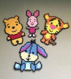 Pooh and his friends made of pyssla beads