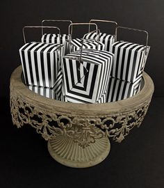 Black & White Striped Takeout Favor Boxes 2in (12 boxes) for candy bar