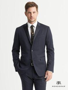 BR Monogram Navy Italian Wool Tuxedo Jacket