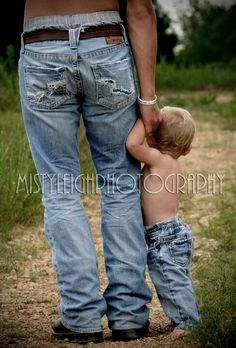 Dad and son, love the no shirt blue jeans look :) if I am ever blessed to have a little boy