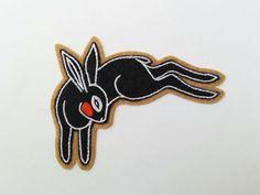 Black Rabbit | Hand Embroidered Chainstitch Wool Felt Patch $26.00