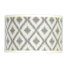 16 inch Ikat Batik Drum Shade Blue or Gray