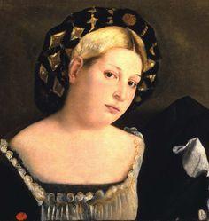 Palma il Vecchio - Ritratto di dama con acconciatura detta il balzo (1510-20)  Venice, Gallerie dell'Accademia