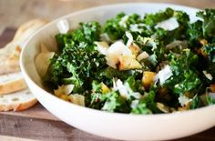Healthy Kale Salad with Homemade Croutons   Delicious, nutrient packed #green #veggies #healthy #recipe #lunch #light #fresh #homemade