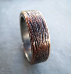 Copper Silver Mens Wedding Ring Rustic Sterling 925 Silver