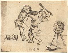 Martin Schongauer  Apprentices Fighting, probably c. 1480  Rosenwald Collection  1943.3.77