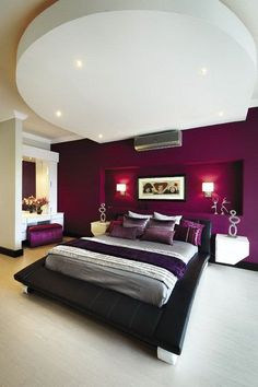 Grey And Red Bedroom Theme For A Rock And Roll Bedroom Theme - Bedroom for couples with dark purple color schemes with purple carpet