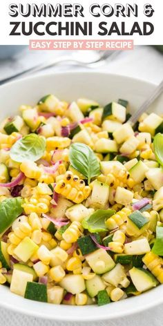 Zucchini Salad with roasted corn is an easy but so flavorful vegetable side dish made with fresh corn, zucchini, and onions. A delicious summer salad that will dress up every meal! Corn Recipes, Side Dish Recipes, Healthy Recipes, Pasta Recipes, Salad Recipes, Healthy Food, Healthy Eating, Cookout Side Dishes, Salads