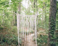 Bohemian Macrame Curtains Boho Wedding Backdrop by KnotSquared