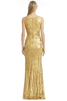 White and Gold Wedding. Gold Bridesmaid Dress. Soft and Romantic. As Good as Gold Gown by ZAC Zac Posen at $70 | Rent The Runway