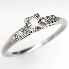 1950's Engagement Ring Old Euro Diamond 14K White Gold