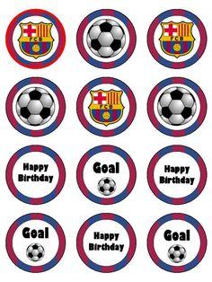 Kopykake Cake Toppers Home & Garden Soccer Birthday Cakes, Image Birthday Cake, Soccer Cake, Happy Birthday Banners, Birthday Cake Toppers, Bolo Do Barcelona, Barcelona Soccer Party, Soccer Birthday Parties, Birthday Goals