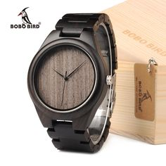 Amazing Price $23.39, Buy BOBO BIRD Mens Watches All Black Wooden Wristwatches with Wooden Band Watches for Men as Gift