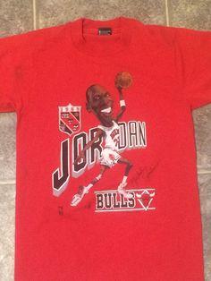 b36d4964eafbd2 vintage 80s 1988 MICHAEL JORDAN CARICATURE MVP CHICAGO BULLS SOFT RED t- shirt M