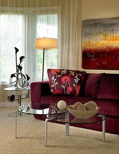 Sanibel House Interior by Fava Design Group living room colours Small Living Room Design, New Living Room, Living Room Sofa, Interior Design Living Room, Living Room Designs, Living Room Furniture, Living Room Decor, Burgundy Room, Burgundy Living Room