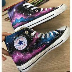 Custom Handpainted Galaxy Shoes Cutom Galaxy Shoes Galaxy GiftsYou can find Galaxy converse and more on our website. Painted Canvas Shoes, Custom Painted Shoes, Hand Painted Shoes, Custom Shoes, Galaxy Converse, Converse Shoes, Diy Galaxy Shoes, Converse Style, Converse Chuck