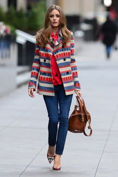 Olivia Palermo street style : colored heels, jean, red blouse & striped coat