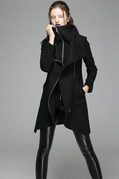 Black wool coat winter women coat hooded coat zipper coat warm ...