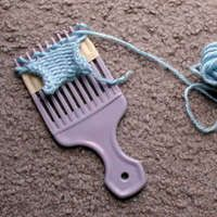 Loom knit with a hair pick