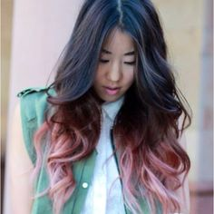Another great example of pastel ombré color. The beauty is in the gradual blend from the natural color to the pastel.