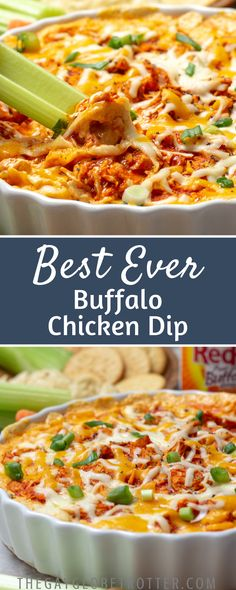 This is the best buffalo chicken dip recipe ever. Franks hot sauce mixed with leftover chicken, cream cheese, then topped with cheese and baked until bubbly. This easy recipe is perfect for a crowd… Buffalo Chicken Dips, Pollo Buffalo, Buffalo Chicken Dip Crock Pot Recipe, Franks Chicken Dip, Buffalo Chicken Cheese Dip, Buffalo Chicken Pinwheels, Chicken Appetizers, Appetizer Dips, Appetizer Recipes