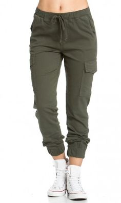 Drawstring Cargo Jogger Pants in Olive Model is wearing size medium Medium Inseam 27 inches -Waist inches inches from waist to hem cotton spandex Hand wash in cold water Made in USA SEE DETAILS Jogger Pants Outfit, Jogger Pants Style, Camo Pants, Cuffed Pants, Women's Pants, Cargo Pants Women, Pants For Women, Fashion Pants, Fashion Outfits