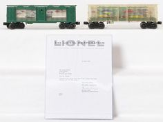 <b>Lionel postwar 3435 Aquarium car production samples with paperwork</b> <br /> This is a really neat pair of Lionel postwar 3435 aquarium cars. One clear shell and unlettered and the second is painted green and unlettered. What makes these cars special is that these were owned by Mr. Gerald Matyas who held the patent for the aquarium car. These cars were owned up until very recently by the family of Mr. Matyas. The bodies on the cars and mechanisms are identical ...