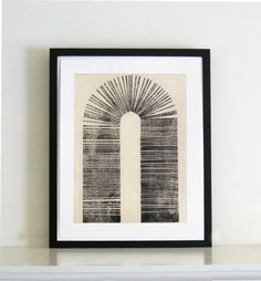 Etching Print  Minimalist  Architectural  Vault  by ElviaPerrin,