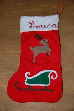 chaussette de Noël renne traineau du Père-Noël en feutrine brodée