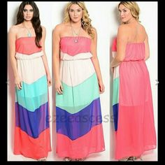 """Sale Strapless chevron maxi dress summer boho New without tags.Strapless maxi dress plus and regale sizes are available  Color block panels, zigzag chevron Maxi dress. partially lined. Lightweight sheer fabric. MEASUREMENTS:  Total Length=54""""  Small, medium, large, 1x, 2x and 3x are available Dresses Maxi"""