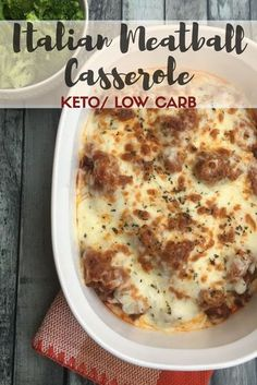 Italian Meatball Casserole {Keto/Low Carb} - This delicious keto dinner is easy to make! A meatball casserole that is low carb, you will want to eat it all the time! #kaseytrenum #meatballcasserole #ketocasserole #lowcarbcasserole #meatballdinner #healthydinner #ketodinner
