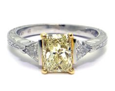 Platinum 2.01 Carat Fancy Yellow Radiant Cut by NYDesignStudio