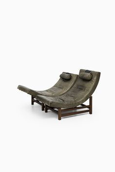 Leo Johansson easy chairs in green buffalo leather at Studio Schalling