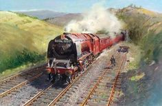 This is a huge painting that can be seen at the National Railway Museum in York… Uk Stamps, Postage Stamps, Royal Mail Postage, National Railway Museum, British Rail, British Isles, Train Art, Art Uk, Steam Locomotive