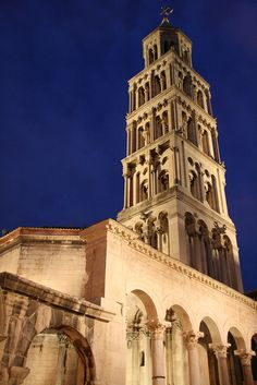 Bell Tower  The centre of Dioceltians Palace with the Romanesque facade complimenting the Roman structures - Split, Croatia.