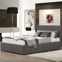 Grey Fabric Ottoman Storage Bed, Happy Beds Berlin Grey Fabric Modern Bed - Small Double x 190 cm) Frame Only Ottoman Storage Bed, Ottoman Bed, Fabric Ottoman, Upholstered Beds, Bed Frame With Storage, Under Bed Storage, Storage Area, Extra Storage, Contemporary Headboards
