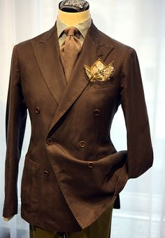Cotton double breasted brown jacket