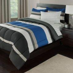 Ebern Designs Orrville Reversible Bed-In-a-Bag Set Color: Blue/Gray, Size: Queen Teen Bedding Sets, Full Comforter Sets, Luxury Bedding Sets, Striped Bedding, Gray Bedding, Cotton Bedding, Bed In A Bag, Bed Sizes, Comforters