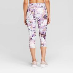 7127b373915f7 Women's Floral Print Everyday High-Waisted Capri Leggings 20 - C9 Champion  White Xxl