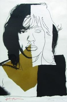 By Andy Warhol, 1975, Mick Jagger. Signed by both Andy Warhol and Mick Jagger.