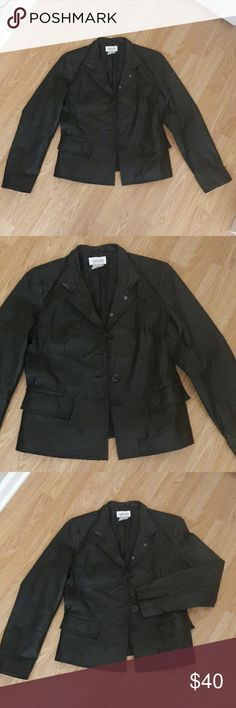 "Genuine Leather Jacket 100% leather jacket in black. Two front flat pockets. Fully lined. Bust 40"" Length 23"" Sleeves 24 1/4"" Excellent condition! **Size 12 but fits like size 4 PLEASE CHECK MEASUREMENTS Chadwicks Jackets & Coats"