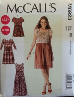 McCall's Pattern M6923 Ladies Romper and Dress sizes 8-16 FREE SHIPPING