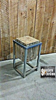 table à café, table de chevet acier et bois design industriel