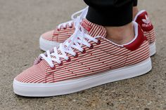 adidas Stan Smith Vulc: Collegiate Red Pinstripes