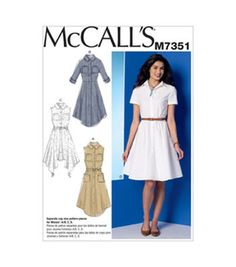 4139889a07a7 McCall Pattern M7351-E50 Misses' Shirtdresses with Pockets and Belt-14-16