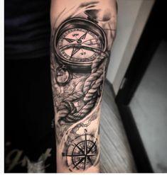 Tiger Tattoo Design, Clock Tattoo Design, Compass Tattoo Design, Forearm Sleeve Tattoos, Best Sleeve Tattoos, Tattoo Sleeve Designs, Nautical Tattoo Sleeve, Nautical Compass Tattoo, Brust Tattoo Klein