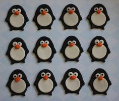 Cute Penguin Fondant Toppers Perfect for Cupcakes by LesPopSweets