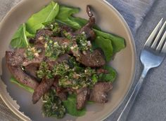 Beef Heart with Herbed Vinaigrette and Arugula