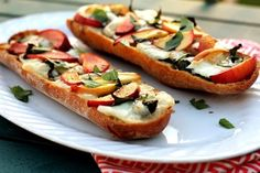 Peach basil brie french bread pizza - yes please!