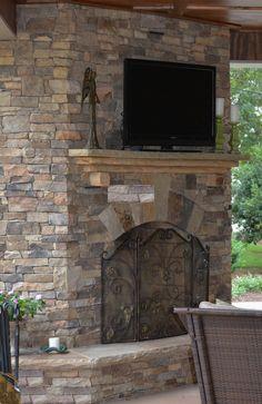 Outdoor fireplace  up close.